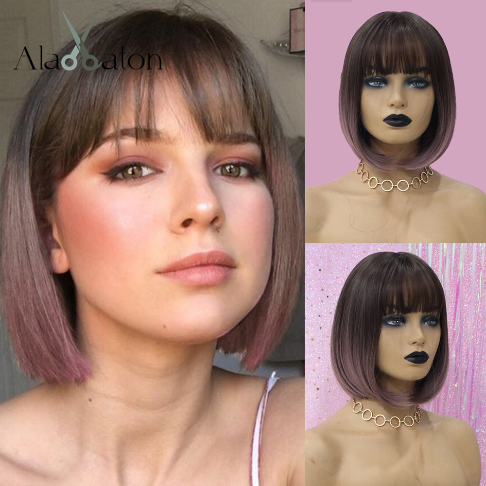 ALAN EATON Heat Resistant Synthetic Short Bobo Hair Wigs For Women Ombre Dark Brown Purple Wigs Perucas Cosplay Wigs With Bangs