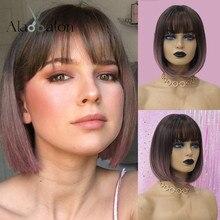 EATON perruques synthétiques courtes Bobo avec frange, résistantes à la chaleur, pour femmes, avec dégradé brun foncé, violet, Perucas Cosplay