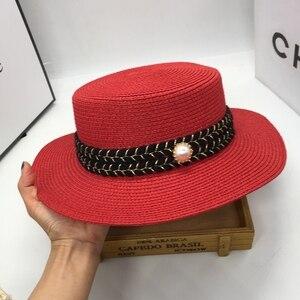 Соломенная шляпа, пляжная шляпа для отдыха, женская мода, морская волна, маленькая, милая, плоская, han edition, красная шляпа от солнца, ins of the wind