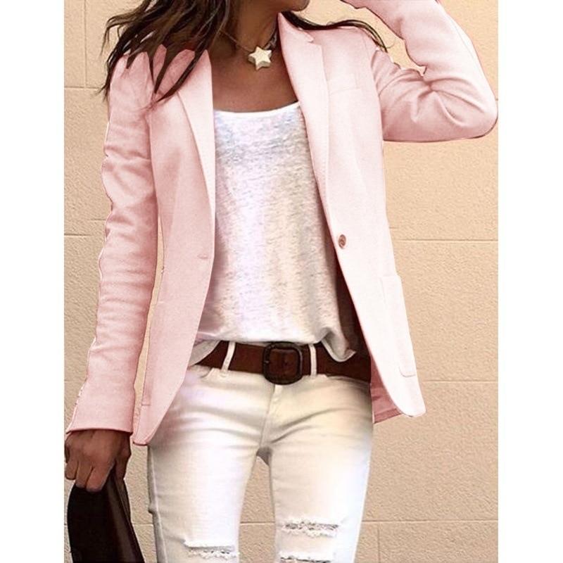 Long Sleeve Womens Coat Single Breasted Solid Female Jacket Plus Size Casual Notched Blazer for Women Tweed Kurtka Damska 2020