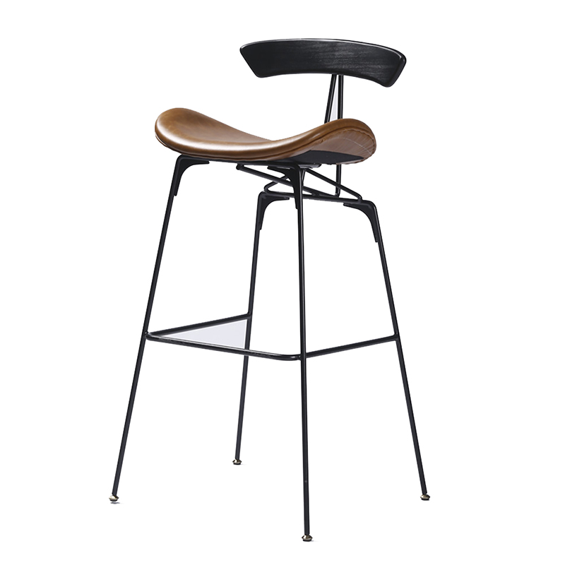 Iron Bar Chair Nordic High Chair Bar Stool Modern Simple Back American Light Luxury Industrial Style Bar Chair