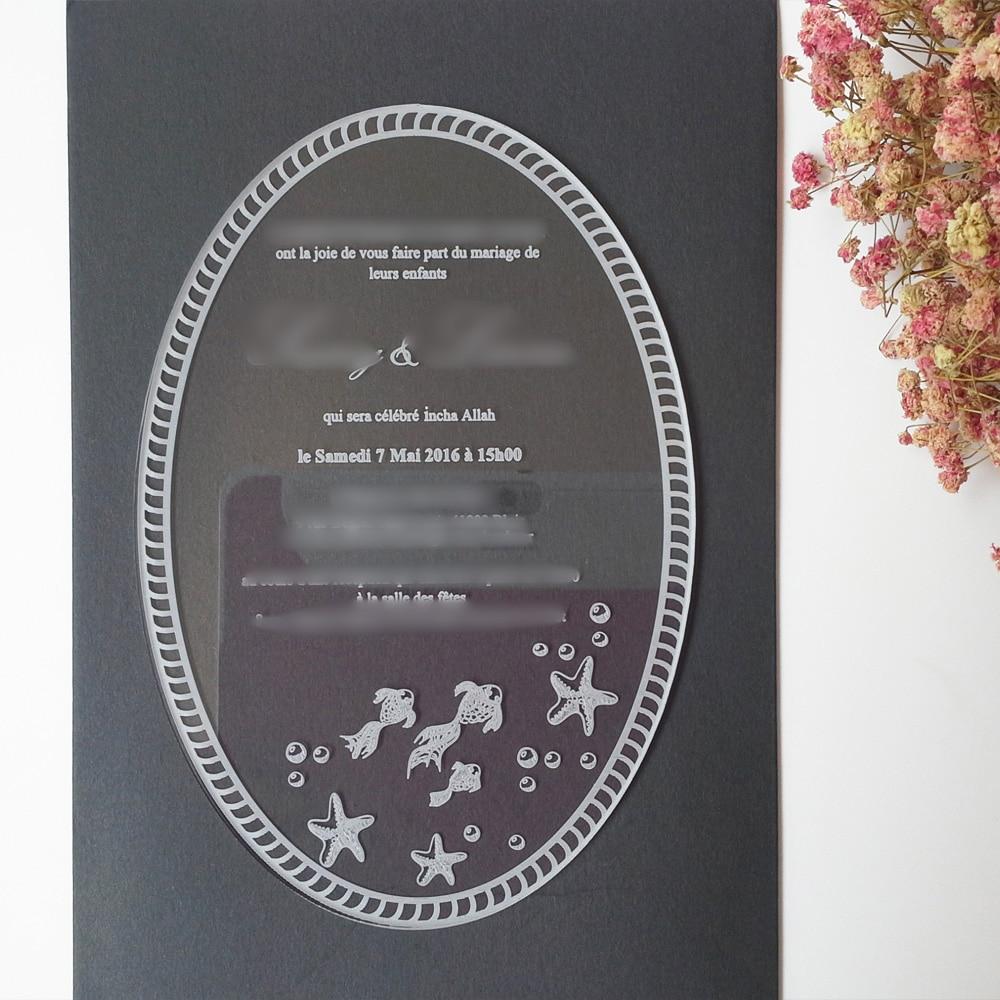 100пцс по лоту 5к7инцх ласерско гравирана слова овалног облика акрилна свадбена позивница