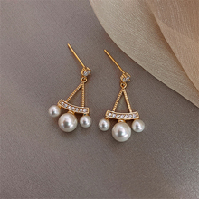 SHANGZHIHUA Korean new metal material pledges continuously empty pearl ear nail, the earring of temperamental vogue woman