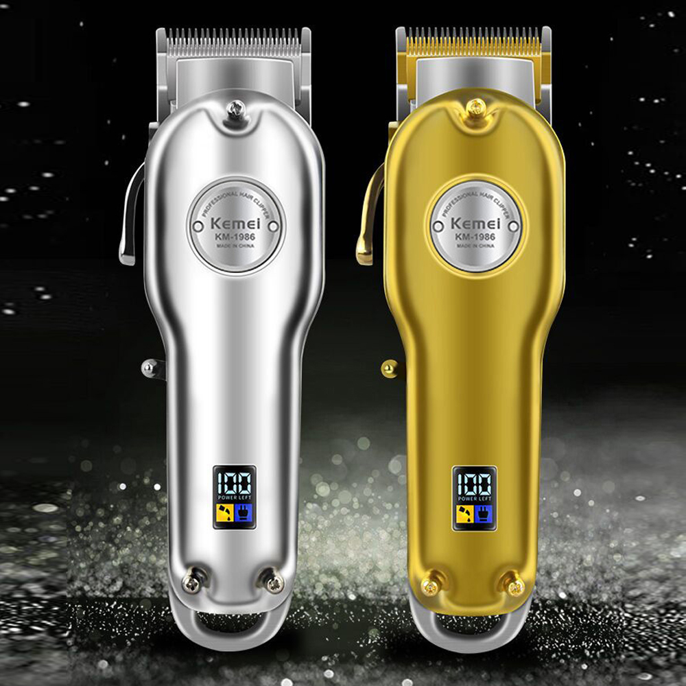 Kemei Barber Professional Hair Clipper Cutter Electric Cordless Hair Trimmer Gold And Silver Hair Cutting Machine KM-1986 Z+PG