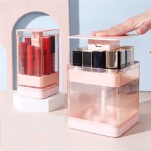 Organizer na biurko plastikowe pudełko na szminki wielokomorowe etui na szminki o dużej pojemności przezroczyste odporne na kurz szminki tanie tanio CN (pochodzenie) Z tworzywa sztucznego