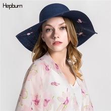 Hepburn brand 2019 Flamingo Raffia Hat Temperament Flat Straw Hats Womens Sea Beach Women Summer