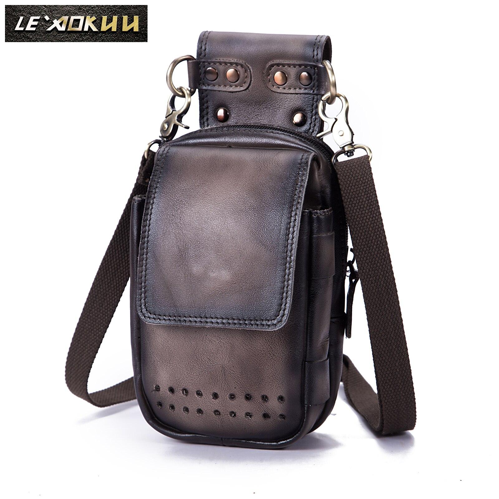 Genuine Leather Men Casual Design Small Messenger Shoulder Bag Fashion Fanny Waist Belt Pack Cigarette 6