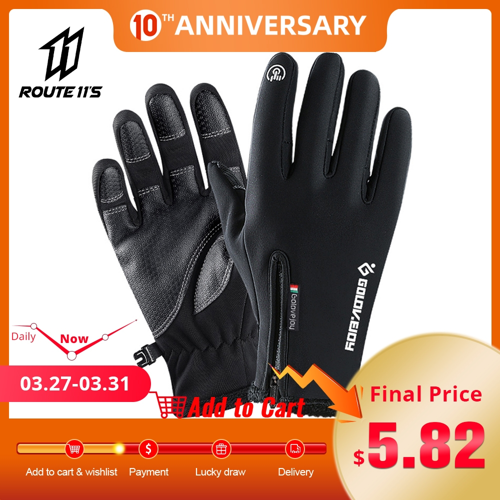 Motorcycle Gloves Moto Gloves Winter Thermal Fleece Lined Winter Water Resistant Touch Screen Non-slip Motorbike Riding GlovesR#