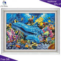 Joy Sunday Cross Stitch D952 14CT 11CT Counted and Stamped Home Decor Dolphins In The Ocean Cross Stitch Kits