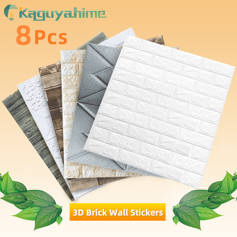 Kaguyahime 8Pcs 3D Self-Adhesive Wall Stickers Decor Waterproof Wallpaper DIY For Kitchen Bedroom 3D Marble Wallpaper Brick