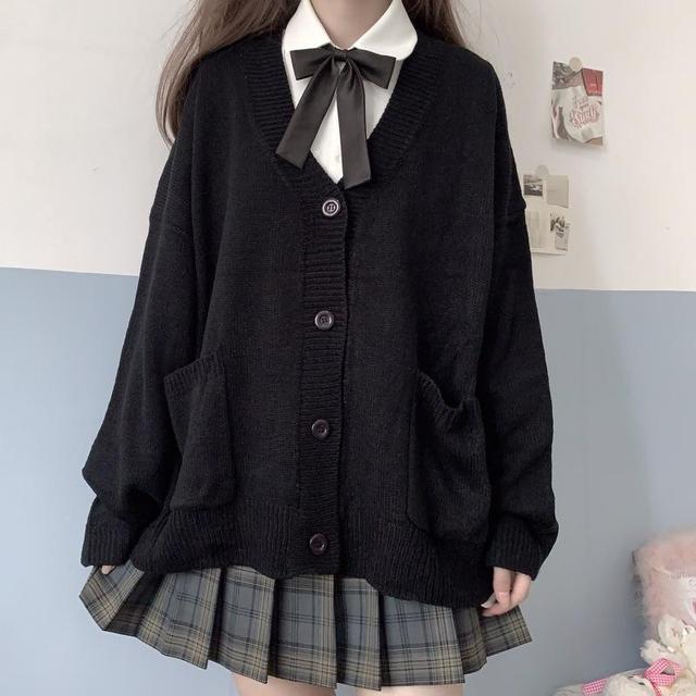 Cardigan Women Solid Oversize Harajuku Loose Sweaters Student Preppy Sweet Girl Cute Knitwear New All-match Soft Hot Sale Basic 6