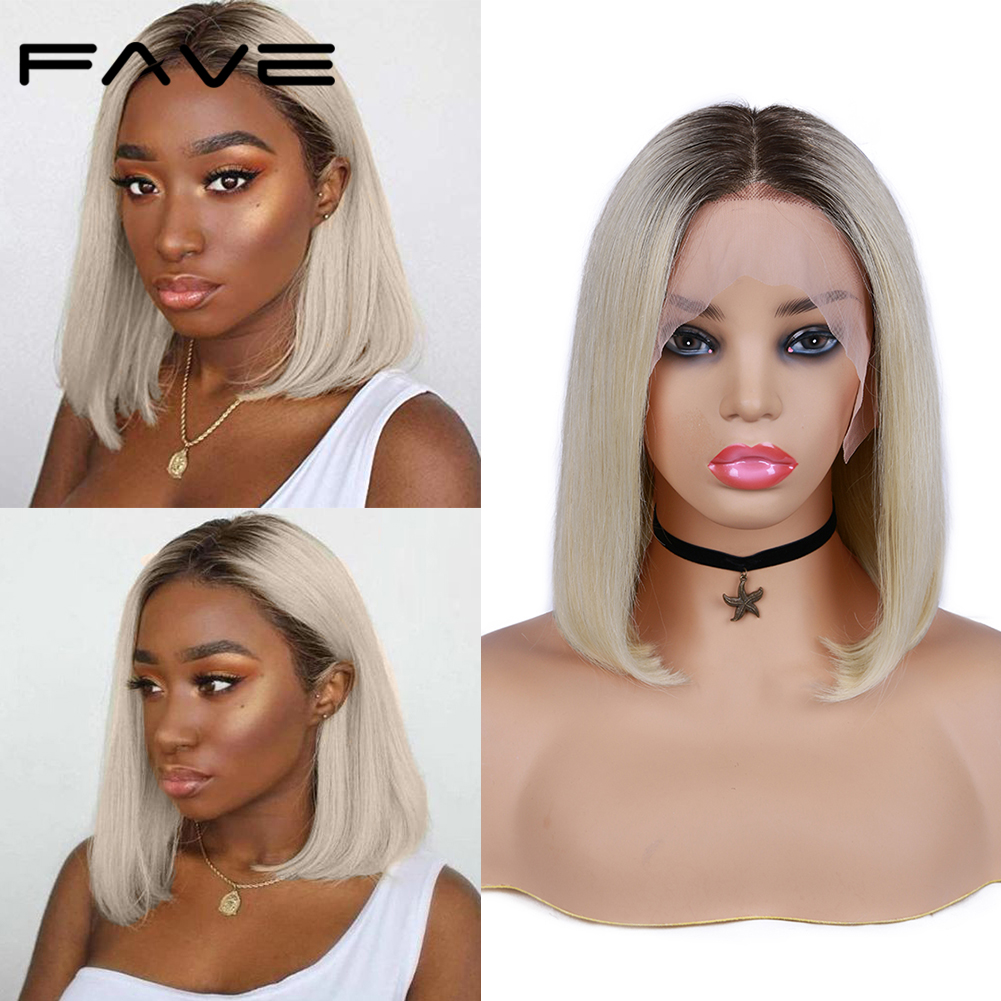 FAVE Lace Front Wig Straight BOB Wig OmbreTB/613# Wig Brazilian Human Remy Hair Wigs 10-12 Inch Short Bob WigsFree Fast Shipping