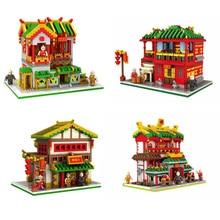 hot LegoINGlys city creators architecture Chinatown Silk shop Pub Martial arts hall model mini Micro Diamond Blocks bricks toys silk city silk city silk city ep lp