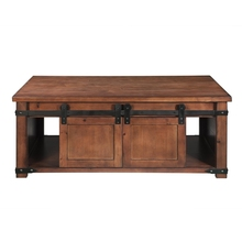 Coffee table With Storage Shelf and Cabinets, Sliding Doors