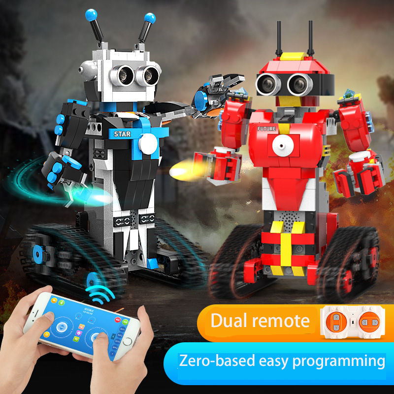 Children's Science And Education Programmable Intelligent Robot Dual Remote Education Gift Toy Building Block Toy