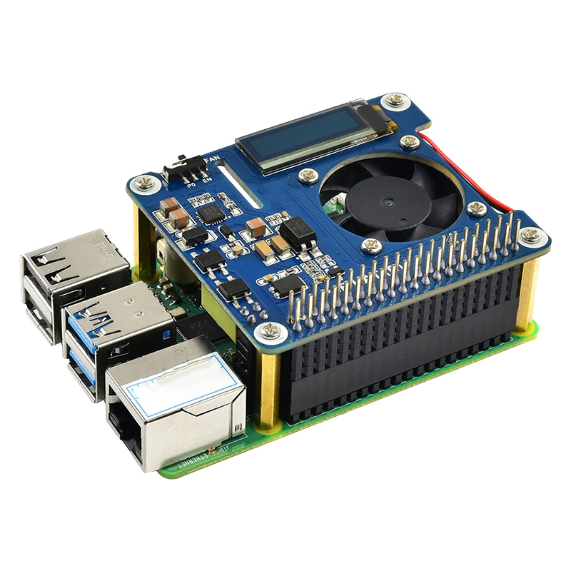 Power over Ethernet HAT for Raspberry Pi 4 Model B / 3B+ and 802.3Af PoE Network Expansion Board with OLED