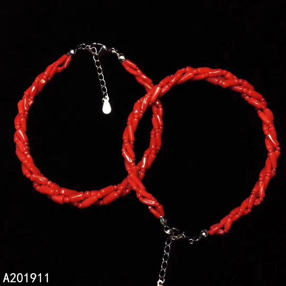 KJJEAXCMY boutique bijoux 925 en argent sterling incrusté naturel rouge corail femmes Bracelet à la mode soutien détection populaire