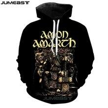 Jumeast бренд для мужчин/для женщин 3D печатных Толстовка Amon Amarth с длинным рукавом спортивный пуловер весенние толстовки