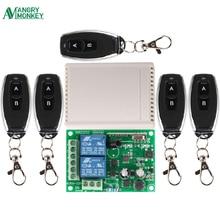 Interruptor de Control remoto inalámbrico Universal de 433 Mhz, CA 250V 110V 220V 2CH, módulo receptor por relé y 5 uds. Controles remotos RF 433 Mhz