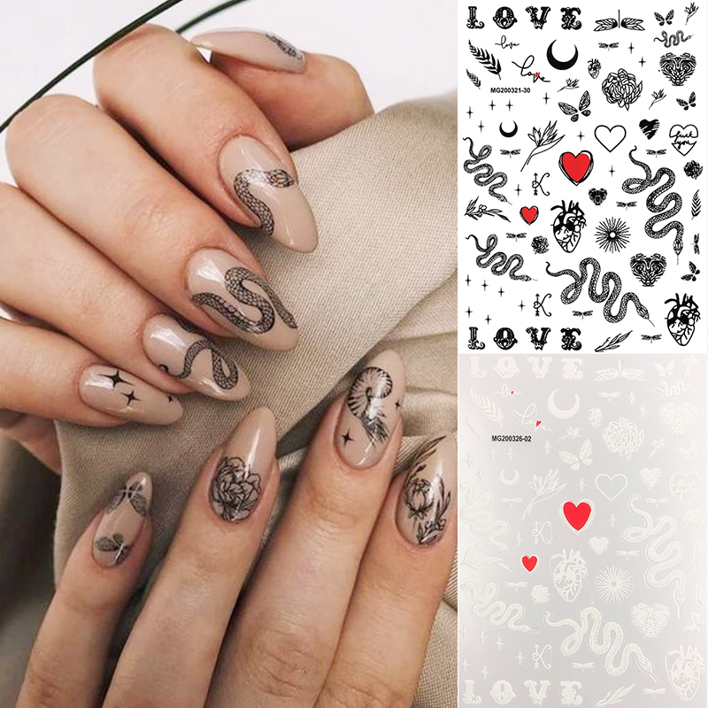 Snake Design 3D Nail Art Stickers Flower Butterfly Transfer Stickers Slider Decals Tip Manicuring Art Decoration Accessory