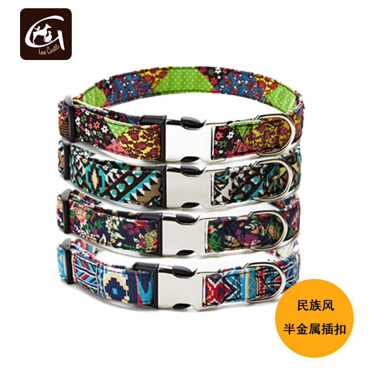 2019 Guangzhou Pet Supplies New Style Ethnic-Style Bohemian Features Semi-metallic Release Buckle Dog Neck Ring