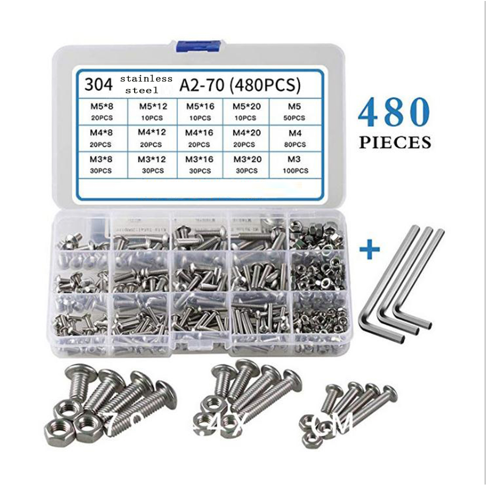 Stainless steel self-tapping screw combination set M3 M4 M5 hexagon socket screw set hexagonal cylindrical drive1 set 480pc