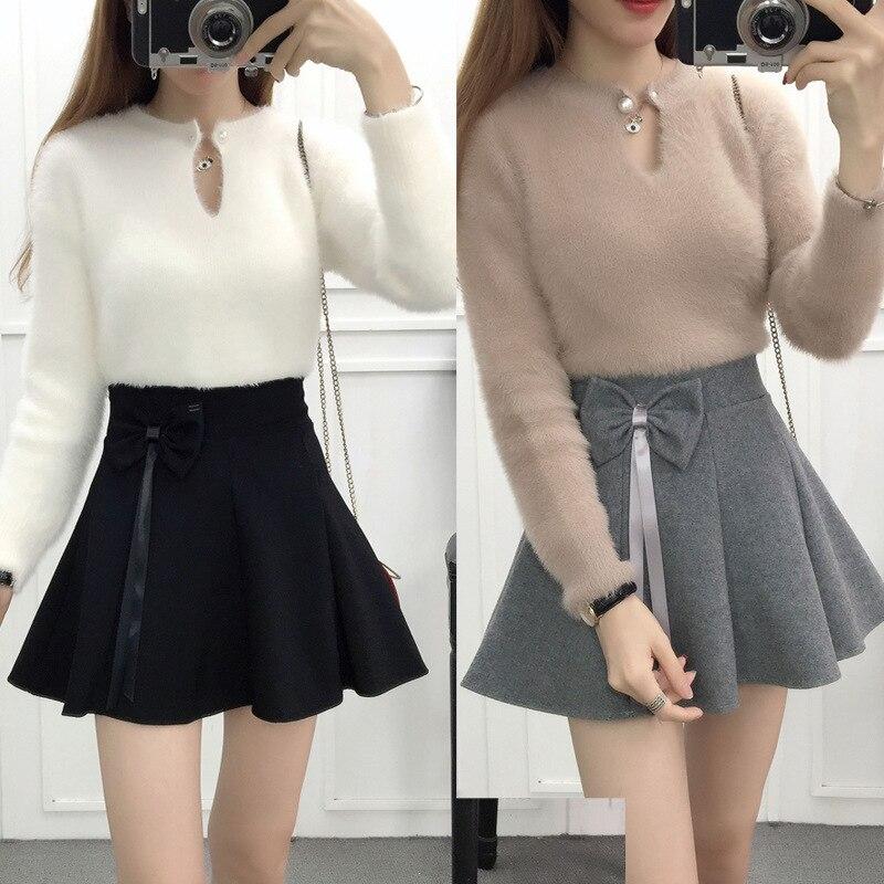 3863 # Photo Shoot Autumn & Winter Skirt Women's High-waisted Short Skirt Students A- Line Skirt Versatile Full Skirt Puffy Wool
