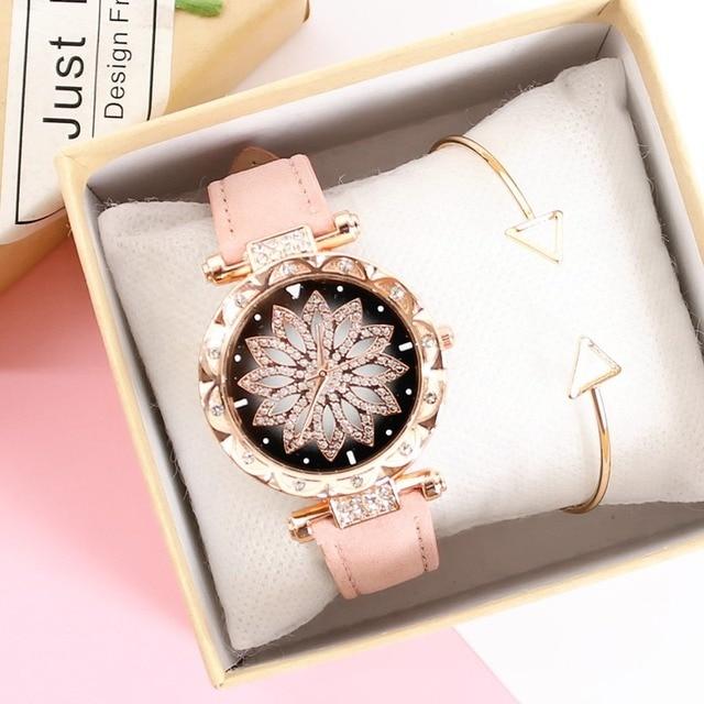 נשים כוכבים בשמי שעון יוקרה רוז זהב יהלומים שעונים גבירותיי מקרית רצועת עור קוורץ שעוני יד נקבה שעון zegarek damski