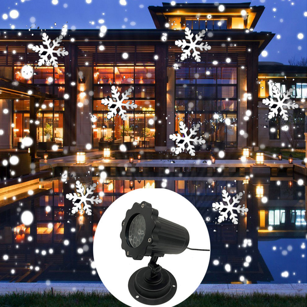 Christmas Snowflake Laser Projector Waterproof Garden Snowfall Lamp Snowing Moving Laser With Remote For New Year Xmas Party