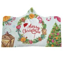 Soft Plush Cloak with Cap Warm Thick Double-layer Christmas Pattern Printed Hooded Blanket Decor CM