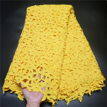 2021Latest Skin Friendly Bright yellow Guipure Cord Lace with Beads Fabric For African Wedding/Party Dresses NN288_R