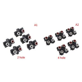 5 uds 2/4 agujero RCA hembra estéreo audio Jack AV Audio entrada conector