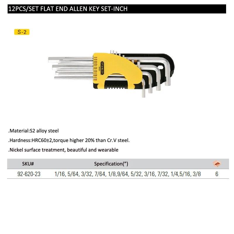 Flat end allen key set-inch
