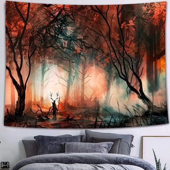 Simsant Mushroom Forest Castle Tapestry Fairytale Trippy Colorful Butterfly Wall Hanging Tapestry for Home Dorm Fantasy Decor 29