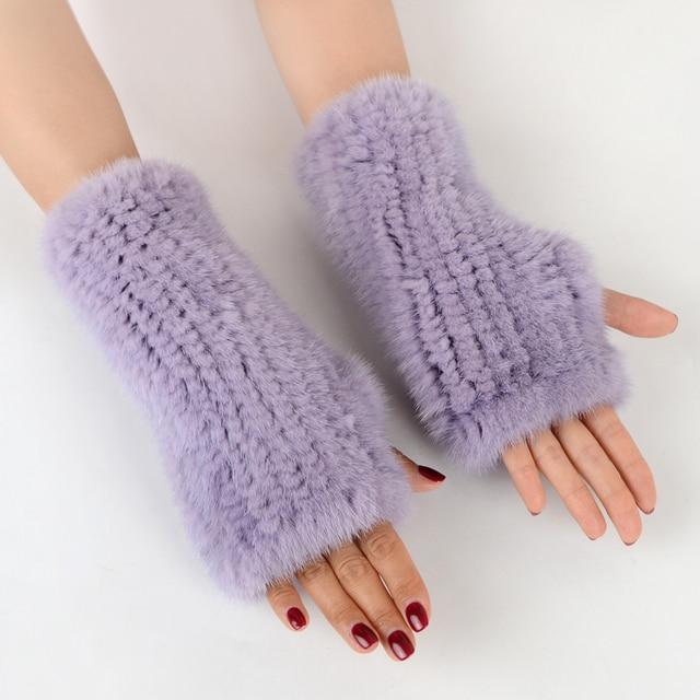 Fingerless Gloves Knitted Women Real Fur Mink Fur Winter Mink Fur Mittens For 2020 New Fashion Knitted Mink Fur Women Gloves 4