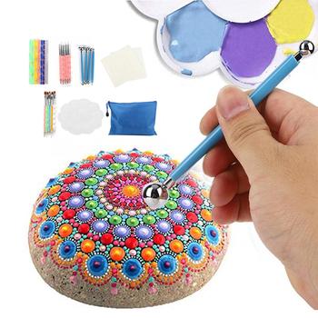 Dzieci DIY rzemiosło zabawki 20 24 32 38 sztuk Mandala malowanie rozsianych zestaw narzędzi drewno skały rzemiosło artystyczne rysunek DIY paznokci rzemiosło artystyczne dorośli tanie i dobre opinie 2 ~ 4 Lat 5 ~ 7 Lat 8 ~ 13 Lat 14 Lat i up Zwierzęta i Natura Kids DIY Crafts Toy Rainbow papieru