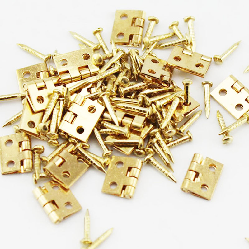 50pcs mini metal hinges 8x10mm golden decorative door hinges wooden gift jewelry box hinges accessories furniture hardware na