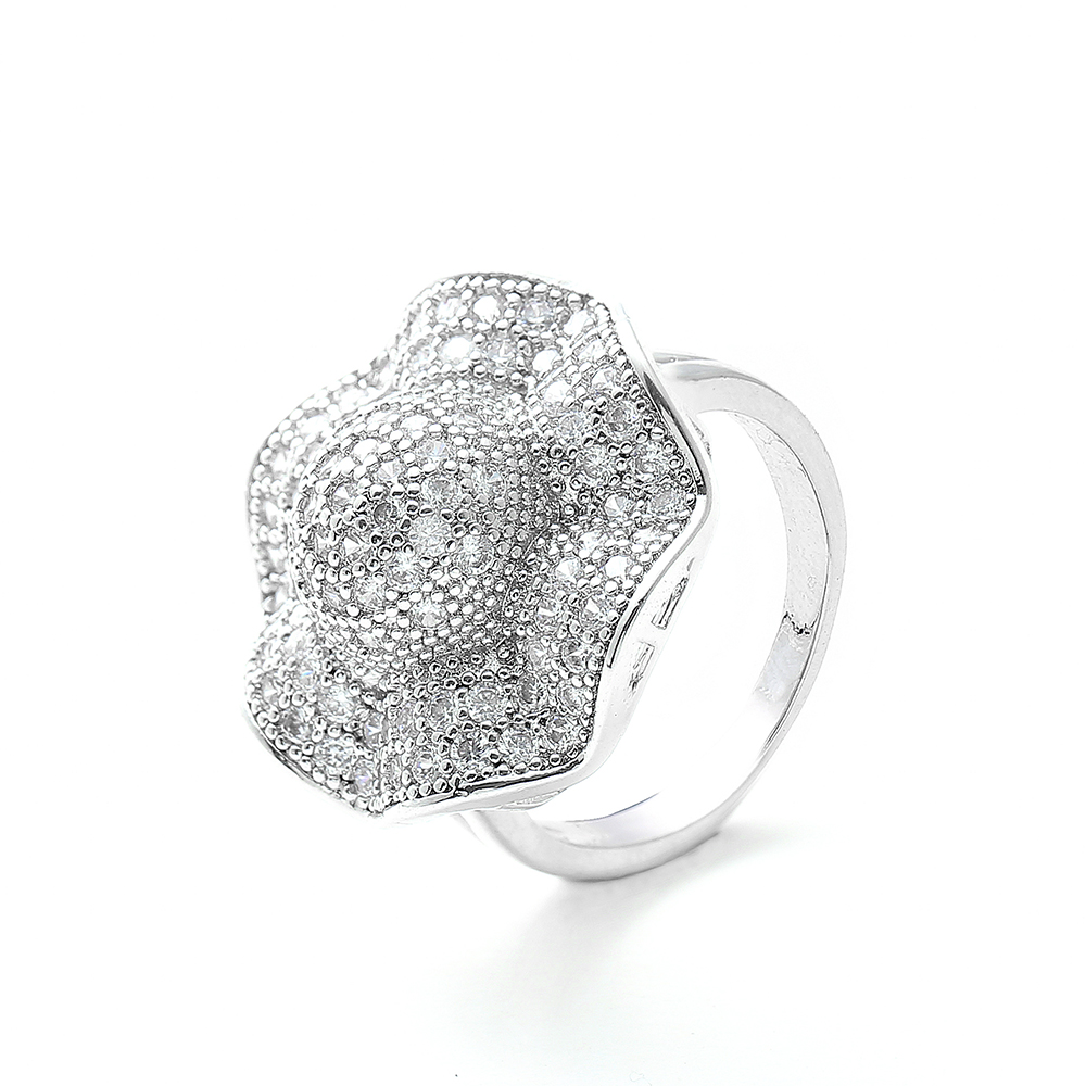Vintage Flower Hot Rings Unique Big for Women Gold Color Micro Pave Cubic Zircon Fashion Jewelry Gift Dropshipping