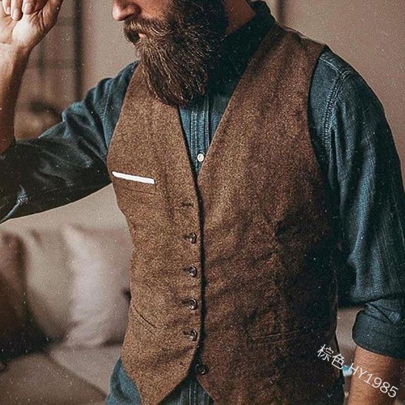 Mens Suit Vest Lapel V Neck Wool Herringbone Casual Formal Business Vest Waistcoat Groomman For Wedding Grey/Brown