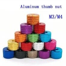10pcs M3 M4 Aluminum thumb nut Knurled Hand nuts anodized 11 colors