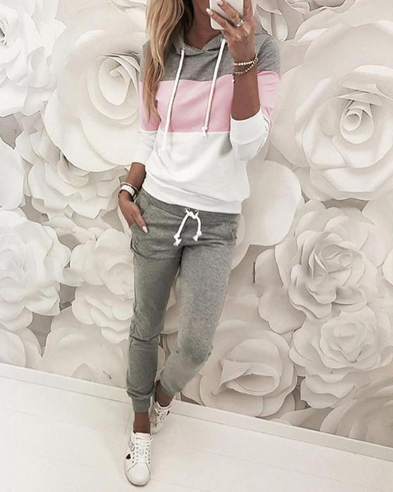 Drawstring Design Colorblock Hooded Top & Slinky Pant Sets Women 2 Piece Outfits Casual Autumn Tracksuits