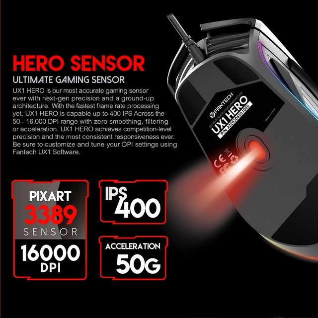 FANTECH UX1 Profession Gaming Mouse 16000 DPI Adjustable 8 Button Macro RGB Wired Mouse USB For LOL CS PUBG Mouse Gamer 3