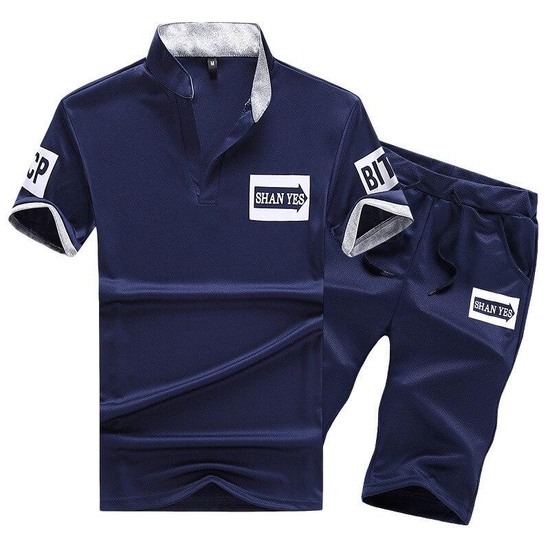 2019 Summer Men Leisure Sports Suit Short Sleeve Men's Shorts Men's 2 Pieces Stand Collar Shirt Set