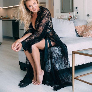Women Black White Bikini Cover Up Summer Sexy Lace Kimono Boho Beach Long Maxi Dress Sheer Loose Kaftan Tunic Swimsuit