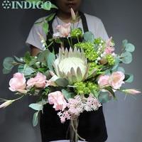 INDIGO Light Purple Protea Cynaroides Bouquet Artificial Flower Wedding Bride Hand Bouquet Flower Party Event Free Shipping