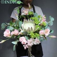 INDIGO jasnofioletowy Protea Cynaroides bukiet sztuczny kwiat panna młoda ręka bukiet kwiatów impreza impreza darmowa wysyłka