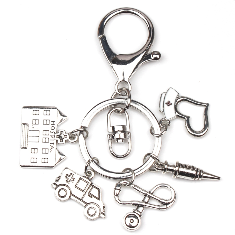 New Nurse Cap Medical Key Chain Needle Syringe Stethoscopeteaching Buildingambulance Keychain Jewelry Graduation Gift 2020