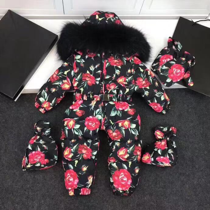 Real fur Hooded Winter Jacket Infant jackets Jumpsuit Snow Suit Girl Floral Flower Printed Rose Down Jacket Snow Wear Outerwear