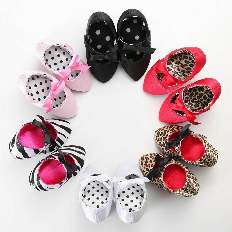 Leopard Princess Newborn Baby High Heels First Walkers Soft Sole Toddler Bow Shoes First Walkers Elegant Shoes For Girls 0-12M