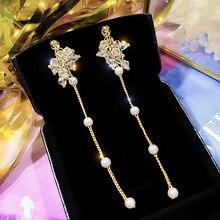 New Korean Crystal Long Tassel Earrings for Women Pearl tassel Earring Bridal Drop Dangling Earrings Brincos Wedding Jewelry